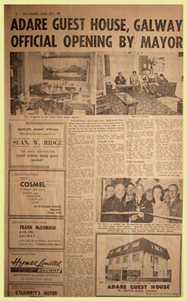 Adare Guest House in Newspaper